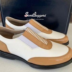 Sandbaggers womans gold shoes